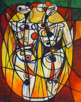 Przyjaciółki 01, 2001 olej,płótno 149 x 141 cm