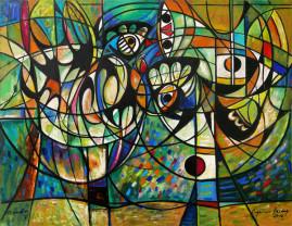 Walka kogutów - 012, 2012 olej, płótno 116,5 x 160 cm