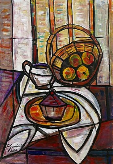 Martwa natura z koszykiem owoców, 2008 olej, akryl, 85 x 58 cm
