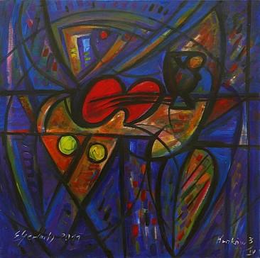 Martwa natura z czerwonymi skrzypcami - błękitna, 2011 olej, płótno, 100 x 100 cm