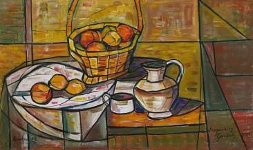 Martwa natura z koszykiem owoców, 2011 olej, płótno, 51 x 85 cm