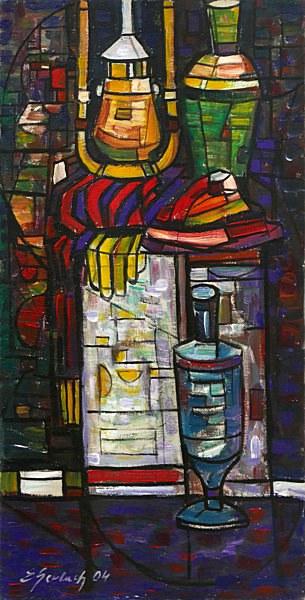 Martwa natura z latarką, 2004 olej, płótno, 83 x 42 cm