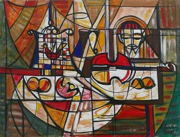 Martwa natura ze świątkiem, 2002 olej, akryl, 57 x 97 cm
