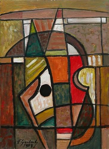 Martwa natura muzyczna II, 1989 olej-akryl, płótno, 68 x 50 cm