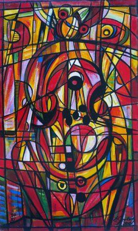 Wiolonczelistka 010, 2010, olej, płótno, 108 x 63