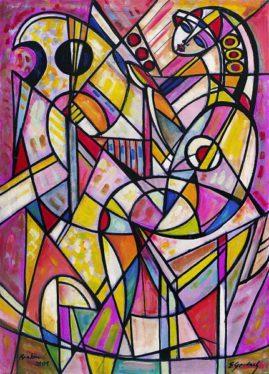 Grająca na harfie, 2001, olej, płótno, 110 x 79 cm