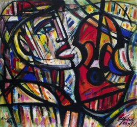 Solista, 2011, akryl, olej, płótno, 86 x 98 cm