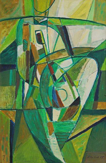 SIEDZĄCA - KOBIETA Z MANDOLINĄ, 1975 olej/płótno, 150 x 100 cm