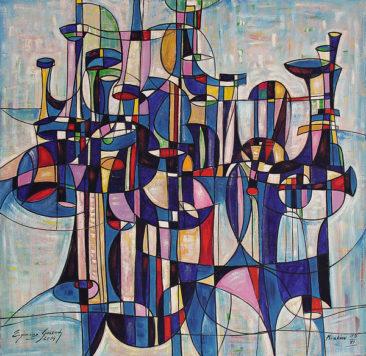 KOMPOZYCJA ORGANOWA, 2014 olej/ płótno, 150 x 150 cm