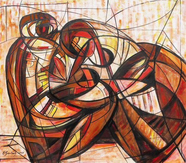 Kochankowie, 2017 akryl na płótnie, 110 x 122 cm