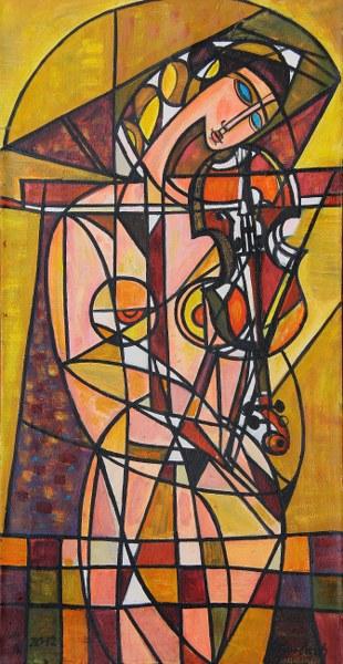 Strojąca skrzypce 012/I, 2012 olej, płótno, 122 x 63 cm