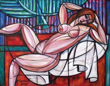 Akt na czerwonym stoliku, 2016 olej, płyta, 88,5 x 75 cm