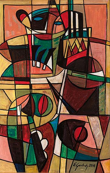 Bal maskowy – Tango, 2018 akryl, olej / płótno, 115 × 76 cm