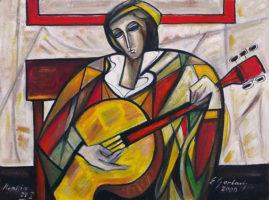 Gitarzysta, 2000 olej na płótnie, 63 x 84 cm