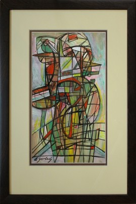 Wędrowcy (2001) akryl, karton, 29 x 11 cm (w świetle passe-partout), 45 x 31,5 (z oprawą)