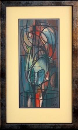 Błękitna postać (2001) akryl, karton, 38 x 17 cm (w świetle passe-partout), 56 x 33,5 (z oprawą)