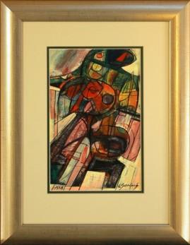 Wspomnienie z Troi 1 (1978) akryl, karton, 30 x 17 cm (w świetle passe-partout), 45 x 32 (z oprawą)