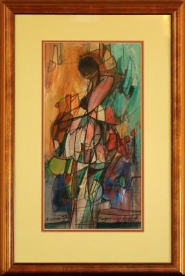 Kobieta z Casablanki (2007) akryl, karton, 40 x 20 cm (w świetle passe-partout), 60 x 28 (z oprawą)