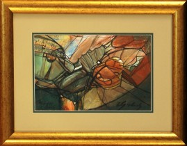 Rycerz i Pegaz (2005) akryl, karton, 16,5 x 26 cm (w świetle passe-partout), 33 x 24 (z oprawą)