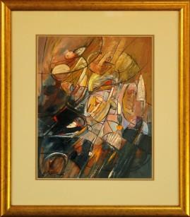 Kompozycja - dwie strefy (1979) olej, klarton, 36 x 29 cm (w świetle passe-partout), 56 x 48,5 cm (z oprawą)