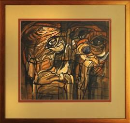 Portret podwójny (1984) akryl, karton, 35 x 39 cm (w świetle passe-partout), 55 x 57 cm (z oprawą)