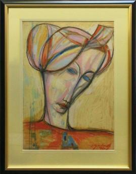 Portret kobiety o błękitnych oczach (1996) pastel, karton, 66 x 46 cm / 90 x 70 cm [z oprawą]