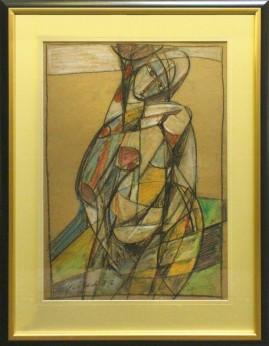 Akt na plaży (1987) pastel, karton, 66 x 46 cm / 90 x 70 cm [z oprawą]