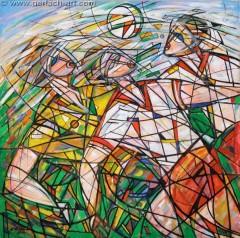 Walka o piłkę II (2011), 125 x 125 cm