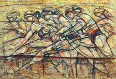 Bieg przez płotki (2008), 100 x 150 cm
