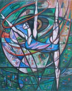 Ćwicząca z szarfą II (1984), 152 x 121 cm