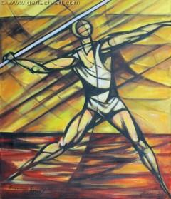 Rzut oszczepem (1998), 116 x 100 cm