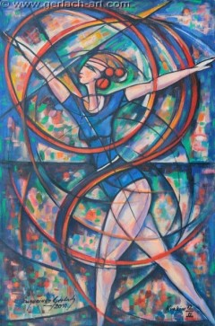 Ćwicząca z szarfą III (2010), 120 x 79 cm