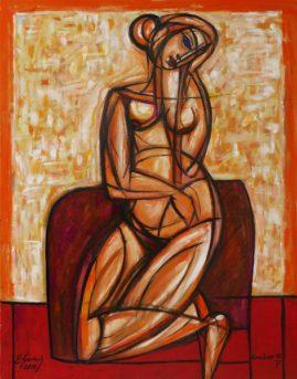 Siedząca na dywaniku - akt, 2019 olej, płótno, 107 x 83 cm