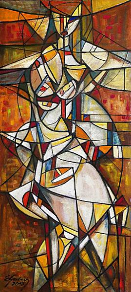 Akt, 2018 olej, płótno, 141 x 62,5 cm
