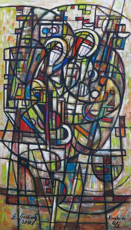 Kompozycja operowa, 2018 - olej na płótnie, 121 x 69 cm