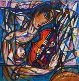 Zakochana skrzypaczka, 2019 olej na płótnie, 76 x 77 cm