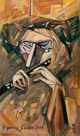 Ślepiec grający na flecie (2010),  olej, płótno, 85 x 49,5 cm