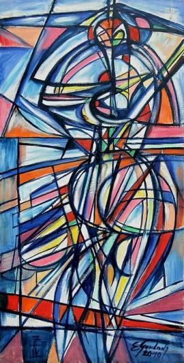 Akt futurystyczny (2010),  olej, płótno, 99 x 48 cm
