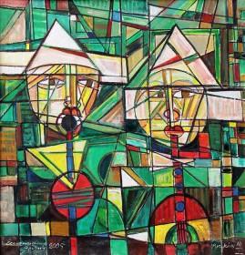 Muzykanci 2005 (2005),  olej, płótno, 101 x 99 cm
