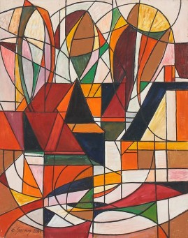 Góralska zagroda (2001) olej, płótno, 110 x 87 cm