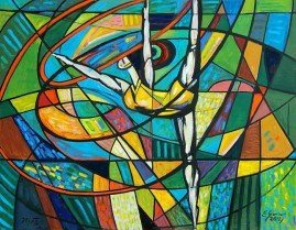 Baletnica z szarfą (2012) olej, płótno, 115 x 150 cm