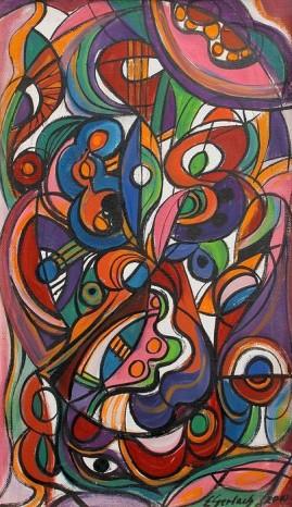 Kompozycja secesyjna (2010) olej, płótno, 70 x 42,5 cm
