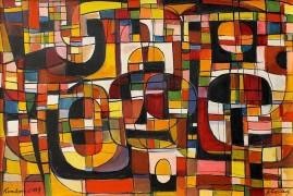 Kompozycja kilimowa – 09 (1991) olej, płótno, 50 x 70 cm