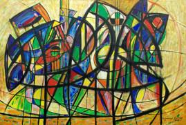 Kompozycja dynamiczna, 2009 olej, płótno 115 x 170 cm