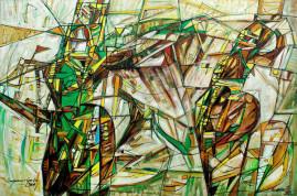 Szermierze - 09, 2009 olej, płótno 115 x 170 cm