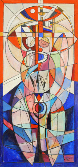 Akt kosmiczny, 2001 olej, płótno 210 x 100 cm