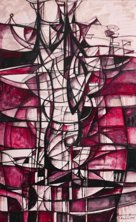 Kompozycja osiowa - Postać, 2014 olej, płótno 180 x 110 cm