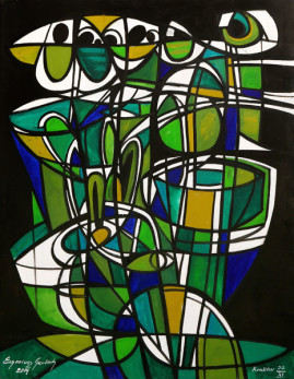 Kompozycja syntetyczna - zieleń i czerń, 2014 olej, płótno 150 x 116,5 cm