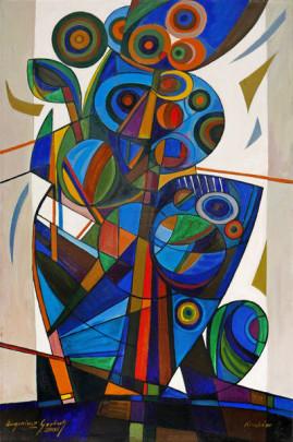 Kompozycja błękitna - 06, 2016 olej, płótno 150 x 100 cm