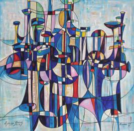 Kompozycja organowa, 2014 olej, płótno 150 x 150 cm